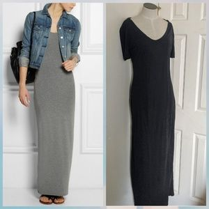 T by Alexander Wang grey jersey pocket maxi dress